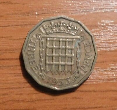 Queen Elizabeth Ii Three Pence Coin 1953