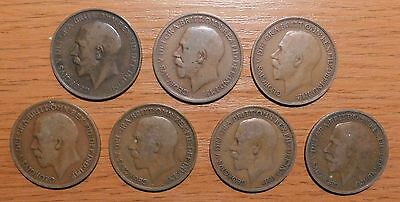 George V  Pennies 7 Coins 1911 To 1917
