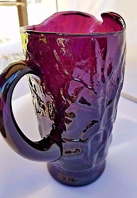 "Seneca Morgantown Crinkle Driftwood Pitcher Plum 8"" Excellent Amethyst Purple"