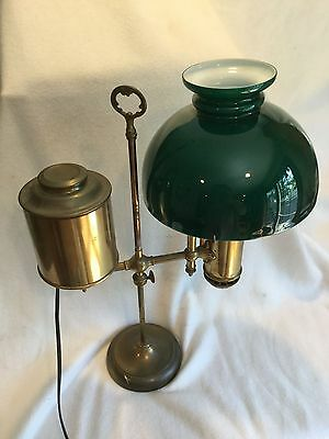 Antique Student Lamp Signed Miller Green Cased Glass Shade Large Electrified