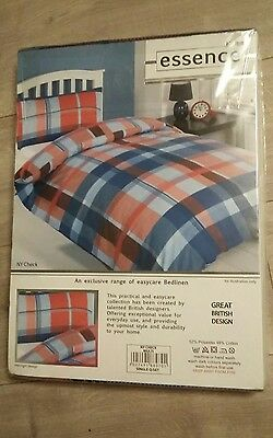 HOME ESSENCE Red Blue Check Checked bedding bed set single duvet pillowcase NEW