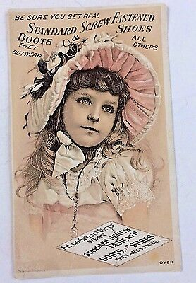 Antique Victorian Trade Card Standard Screw Fastened Boots Shoes E. Worcester,NY