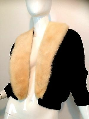 Vintage 1950's Black Cardigan Sweater with Snap Off White Mink Fur Collar S/M