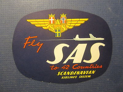 Old Vintage - Scandinavian AIRLINES - Luggage LABEL - FLY SAS to 42 Countries