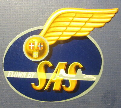 Old Vintage - Scandinavian AIRLINES - Luggage LABEL - FLOWN By SAS