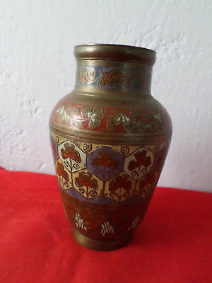 Old Vintage Hand Engraved/painted Colorful India Brass Bud Vase