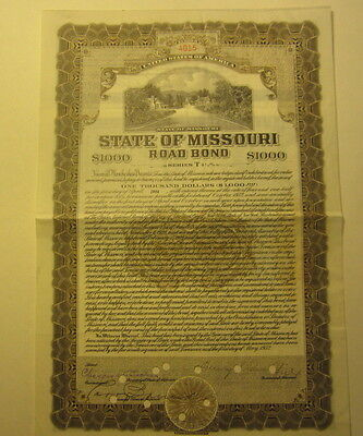 Old 1932 State of MISSOURI Road BOND - Signed by Governor - Henry Caulfield