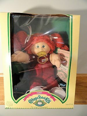 1985 Cabbage Patch Kids Doll w/Box Red Hair & Green Eyes & Pacifier Girl