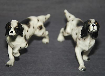 Pair Vintage of Spotted ENGLISH POINTER Dog Mid-Century Porcelain Figurines