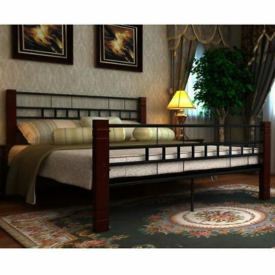 B#Black Metal Bedframe Bed Frame 6FT Super King 180 x 200 cm inclu.Slats
