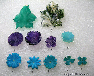11 HAND CARVED MIXED GEMSTONE FLOWERS LEAFS 81.65ct. IDAR OBERSTEIN GERMANY #10