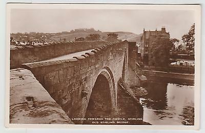Old Stirling Bridge, Looking to Castle:~1920-40 (Est) Real Photo PPC, VG Unused.
