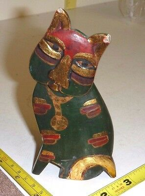 Hand-Carved WOOD Whimsical CAT FIGURINE Painted Green-Gold & Red - Folk Art