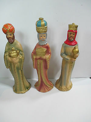 3 Vintage Composite Wise Men Hand Painted Star Nativity