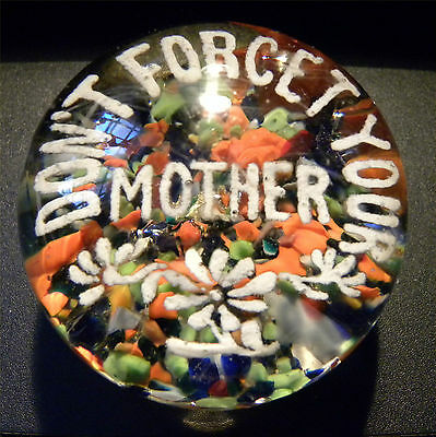 "5145 New Jersey Antique ""Don't Forget Your Mother"" Frit Glass Paperweight c 1890"
