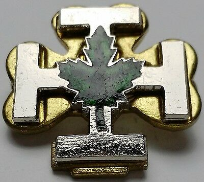 Vintage Clover Maple Leaf Lapel Pin Back / Badge - Free Combined S/H