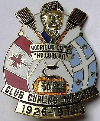"1926-1976 Club Curling Matane, Rodrigue Cote ""Mr. Curler"" Award Pin, Scully MTL"