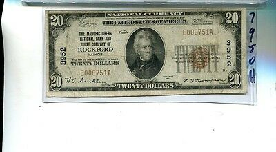 Rockford Illinois 1929 $20 Manufacturers National Bank Note Fine 7950H