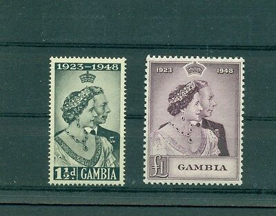 Gambia - Sc# 146-7. 1948 Silver Wedding. Never Hinged. $21.25.