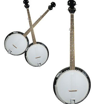 New Full Size 5-string Banjo 24 Bracke Exquisite Professional Wood Metal White