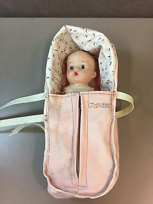 """Vintage 8"""" Ginnette Doll with Original Carrier by Vogue Original Clothes Too"""