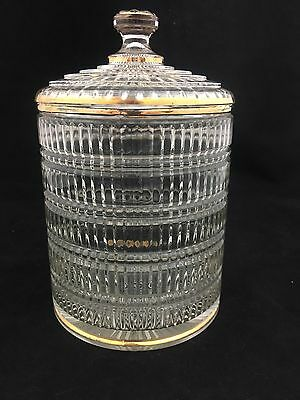 "Antique/Vintage Gold Gilt Pressed Glass Art Deco Heavy Biscuit Cookie 9""Jar/Lid"