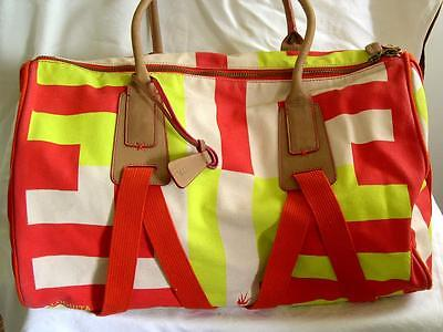 LOQUITA Duffel Bag Canvas Carry-All Red Yellow wStripes Travel Gym Weekender
