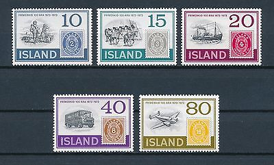Iceland 449-53 MLH, Stamp Centenary, 1973