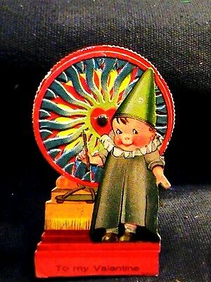 moveable valentine card, spin wheel to make fire 1930s