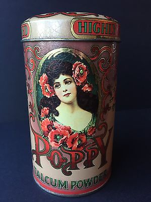 GORGEOUS Poppy Talcum Powder tin metal covered box England made Valentines Day