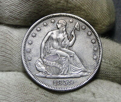 1859 Seated Liberty Half Dollar 50 Cents - Key Date Only 747,200 Minted. (6033)