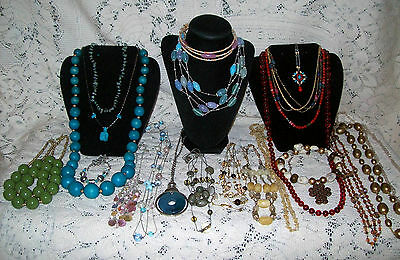 22 Piece Modern Colorful Beaded Necklace Lot