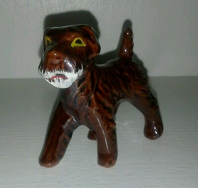 Vintage Airedale Terrier Redware Clay Dog Figurine Japan Dark Brown