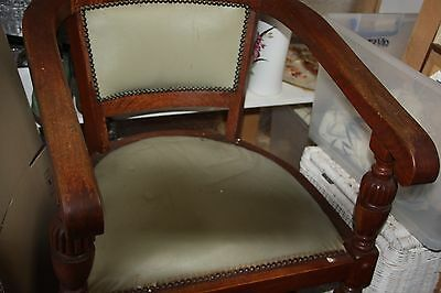 antique chair nice old captains chair high arms turned wood round chair