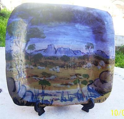 Hand Painted Australian Pottery Ayers Rock Plate