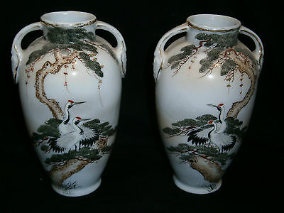 Pair Of Signed Antique Handpainted Japanese Vases - Red Crowned Cranes