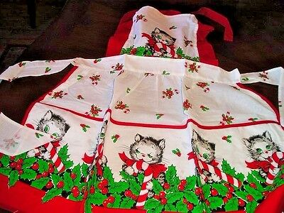 CANDY CANE KITTIES Christmas Adult Apron 100% Cotton Vintage Repro Hand Made NEW