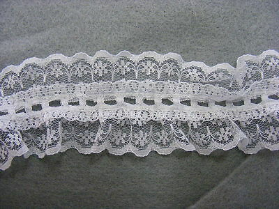 Gathered Lace & Eyelet White Double Sided 40mm wide  x 14 mts (RF720)