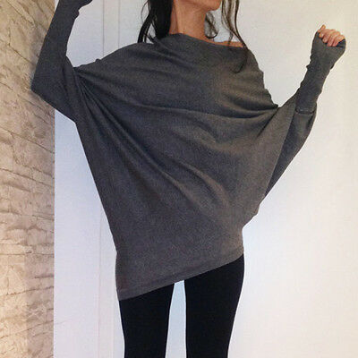 Women Batwing Sleeve Casual  Sweater Loose Top Blouse Pullover Knitwear Jumper