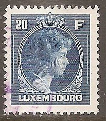 1944 Luxembourg Charlotte 20f. Deep Blue SG 459 Used (Cat £31)
