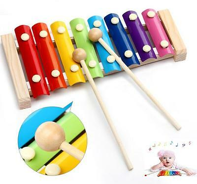 8 Notes Wooden Kids Metal Xylophone Glockenspiel Musical Instrument Toy Music