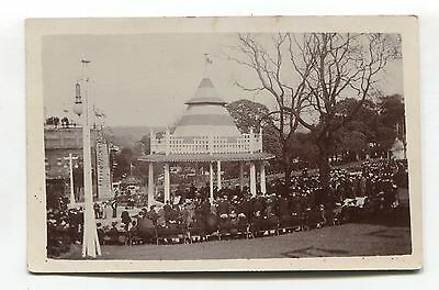 Unidentified park, bandstand, people watching performance - old RP postcard