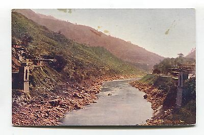 Unknown destroyed or incomplete bridge, Asia? - old 'post restante' postcard
