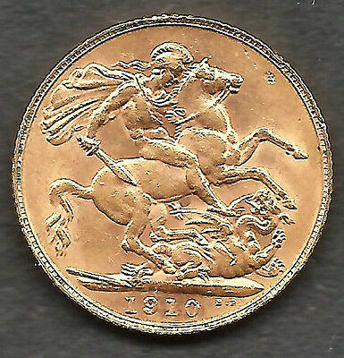 KING EDWARD VII 1910 - FULL GOLD SOVEREIGN  London Mint - Fine Condition