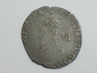 1638-39 Great Britain Sixpence - King Charles - 6 Pence Six - Silver World Coin
