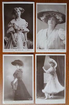 4 Antique Vintage Edwardian Postcards Theatre Stage Actress Miss Gabrielle Ray