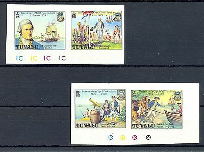 ENGLISH COLONY TUVALU 4 ST. IMPERF   Cpt. JAMES COOK    SHIPS (*)  NO GUM    VF