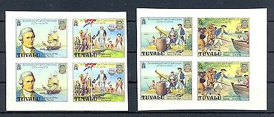 ENGLISH COLONY TUVALU  8 ST. IMPERF   Cpt. JAMES COOK    SHIPS (*)  NO GUM    VF