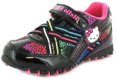 Young Girls Hello Kitty Summer Trainers Black Pink Rainbow UK 7  to UK 12 EU 30