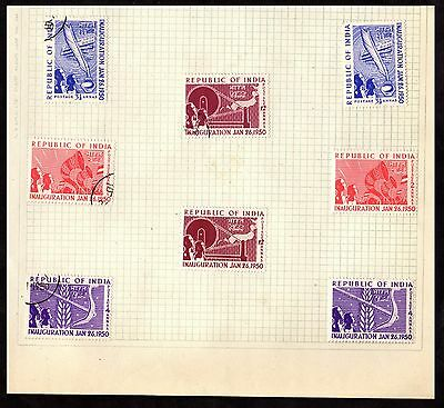 Stamps ~ INAUGURATION OF INDIA 1950 ~ On Album Page UNSORTED  Used & Unused